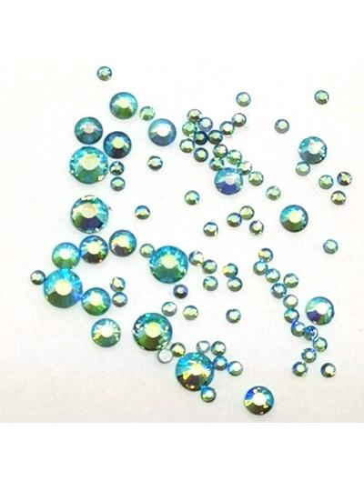 Glas Strasssteine SS Mix 06 Blau AB irisierend