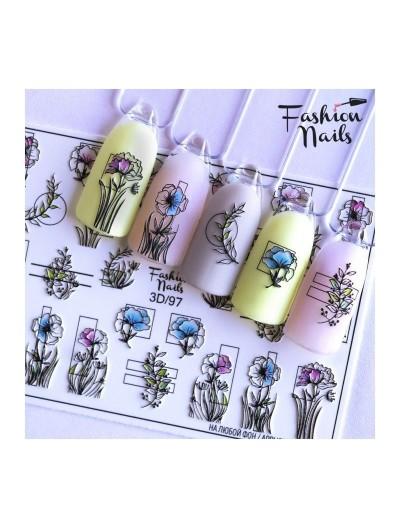 Nagel Sticker Blumen 3D 97