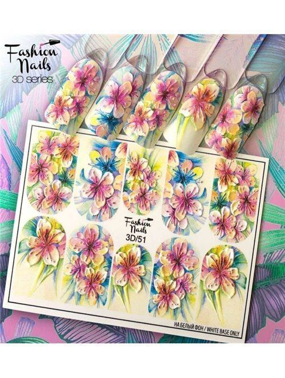 Nagel Sticker Blumen 3D 51 - bunt