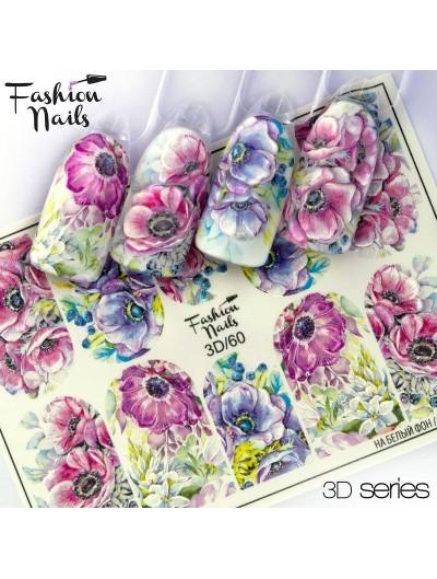 Nagel Sticker Blumen 3D 60 - bunt
