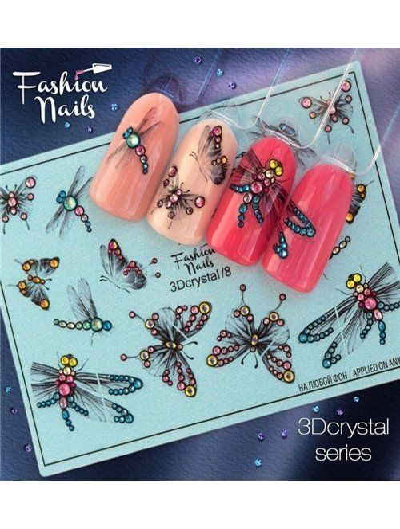 Nagel Sticker Dragonfly-Butterfly 3DC 8 Crystal