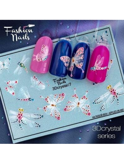 Nagel Sticker Dragonfly-Butterfly 3DC 7 Crystal