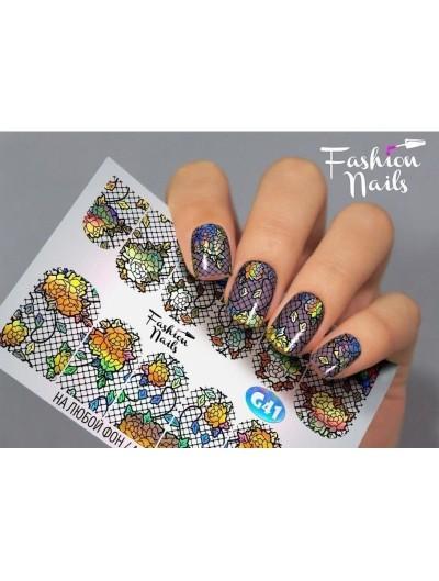 Nagel Sticker Blumen G 41 Galaxy